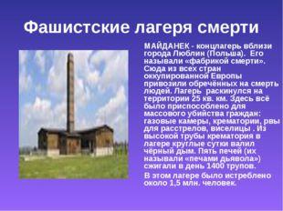 МАЙДАНЕК - концлагерь вблизи города Люблин (Польша). Его называли «фабрикой