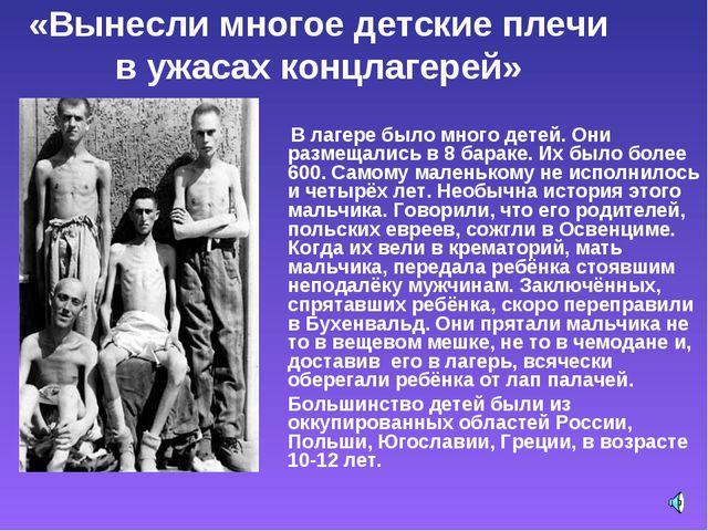 «Вынесли многое детские плечи в ужасах концлагерей» В лагере было много детей...