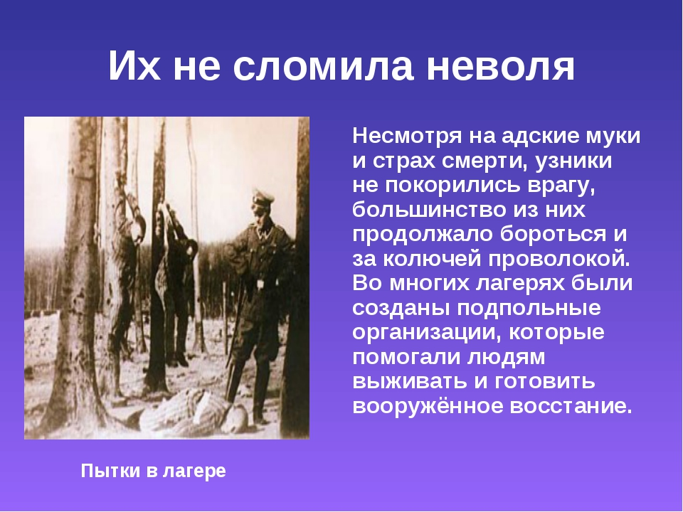 Их не сломила неволя Несмотря на адские муки и страх смерти, узники не покори...