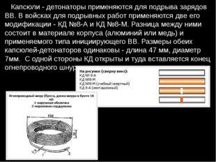 Капсюли - детонаторы применяются для подрыва зарядов ВВ. В войсках для подры