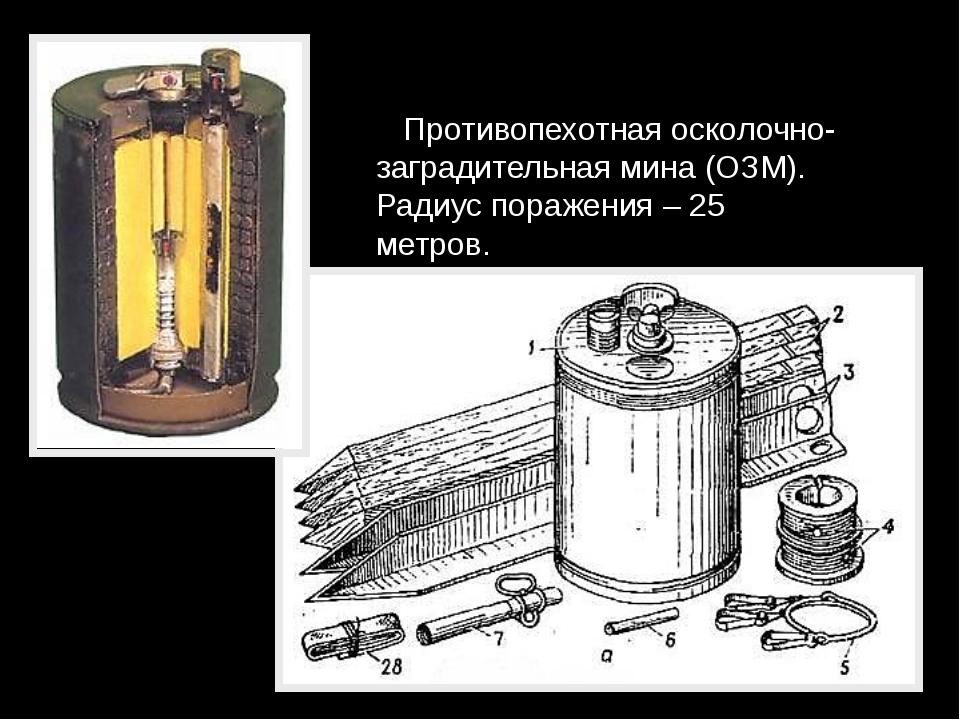Противопехотная осколочно-заградительная мина (ОЗМ). Радиус поражения – 25 м...
