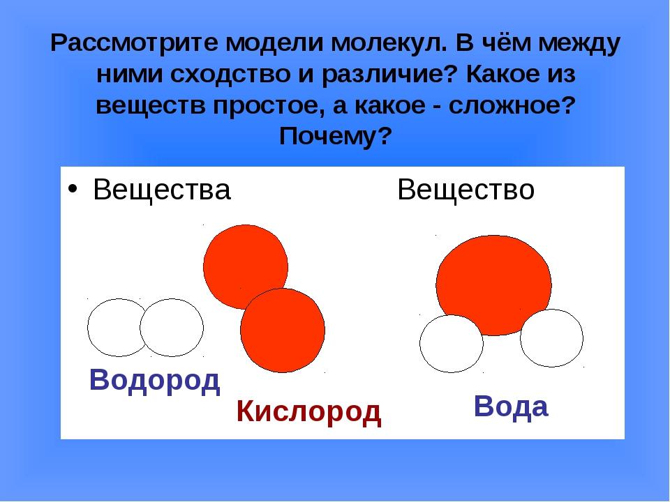 Рассмотрите модели молекул. В чём между ними сходство и различие? Какое из ве...