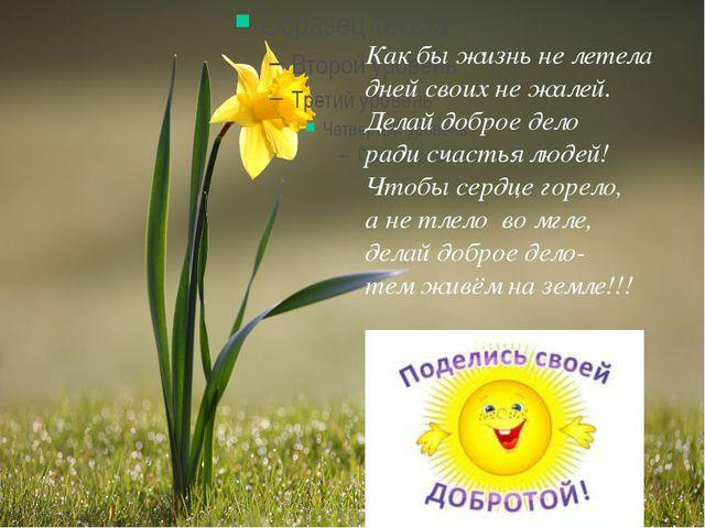 Как бы жизнь не летела дней своих не жалей. Делай доброе дело ради счастья л...