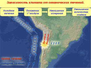 Холодное течение Понижение t 0 воздуха Уменьшение испарения Уменьшение количе