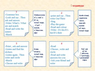 1 -Grammar box -Look and say . Then ask and answer. -Write: What's / What ar