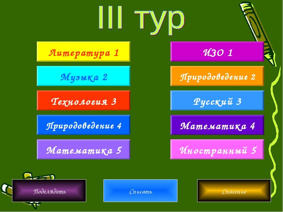 Литература 1 Математика 5 Музыка 2 Природоведение 4 Технология 3 Иностранный...