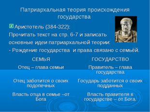 Патриархальная теория происхождения государства Аристотель (384-322): Прочита