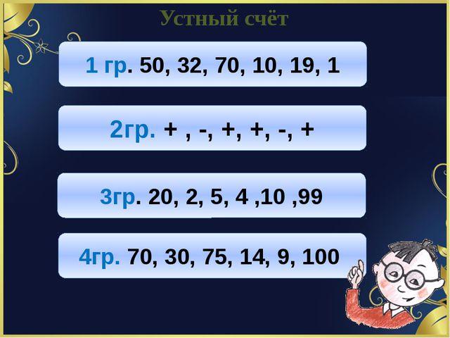 Устный счёт 1 гр. 50, 32, 70, 10, 19, 1 2гр. + , -, +, +, -, + 3гр. 20, 2, 5,...