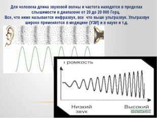 Для человека длина звуковой волны и частота находятся в пределах слышимости в