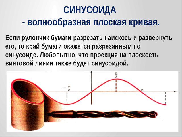 СИНУСОИДА - волнообразная плоская кривая. Если рулончик бумаги разрезать наис...