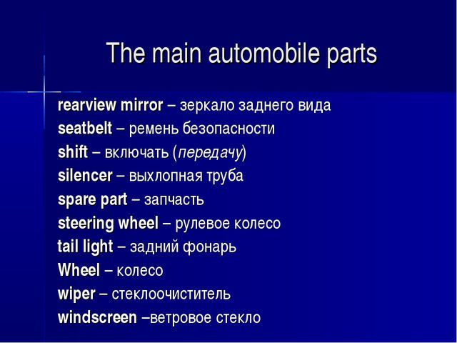 The main automobile parts rearview mirror – зеркало заднего вида seatbelt – р...