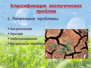 Классификация экологических проблем 3. Почвенные проблемы Загрязнение Эрозия