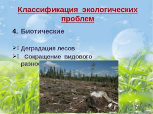 Классификация экологических проблем Биотические Деградация лесов Сокращение в