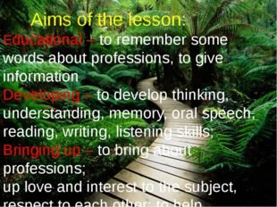Aims of the lesson: Educational – to remember some words about professions,