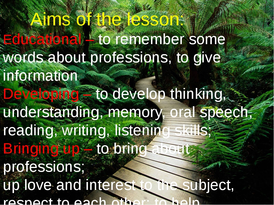 Aims of the lesson: Educational – to remember some words about professions,...