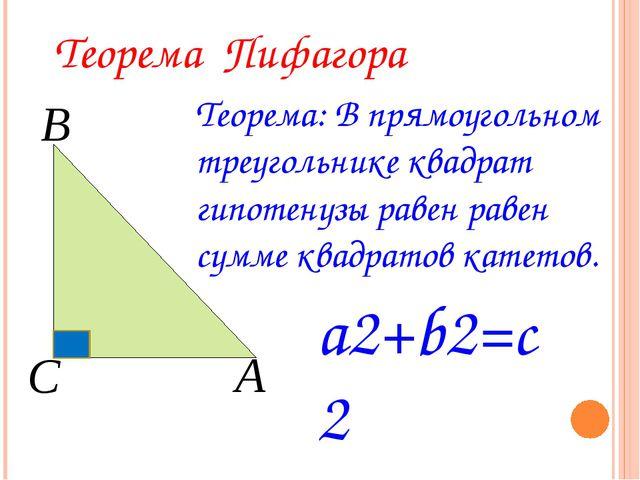 Теорема Пифагора Теорема: В прямоугольном треугольнике квадрат гипотенузы ра...