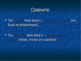 Сравните: You needn't have done it. – могли и не делать (это было не обязател