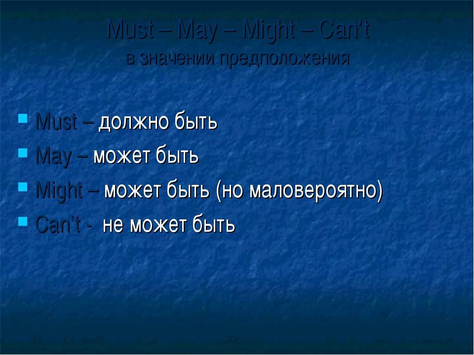 Must – May – Might – Can't в значении предположения Must – должно быть May –...