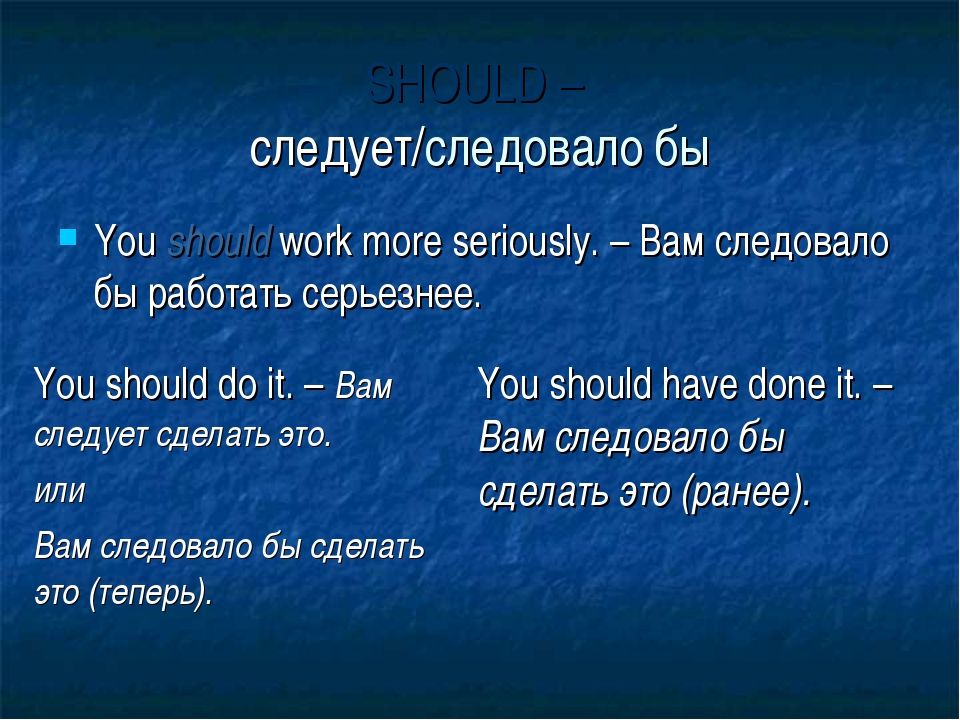 SHOULD – следует/следовало бы You should work more seriously. – Вам следовало...