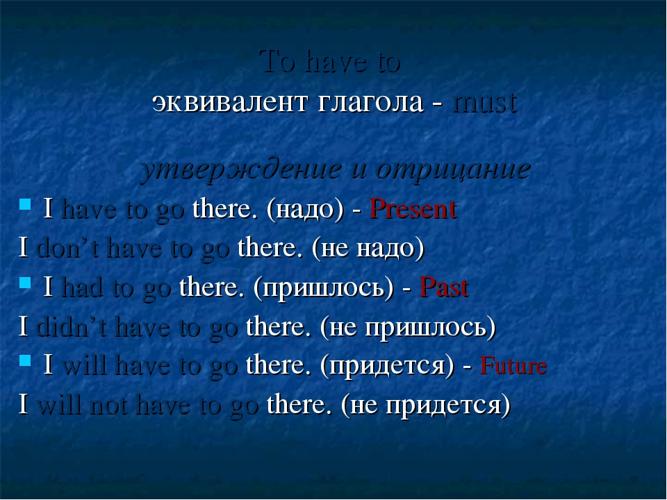 To have to эквивалент глагола - must утверждение и отрицание I have to go the...