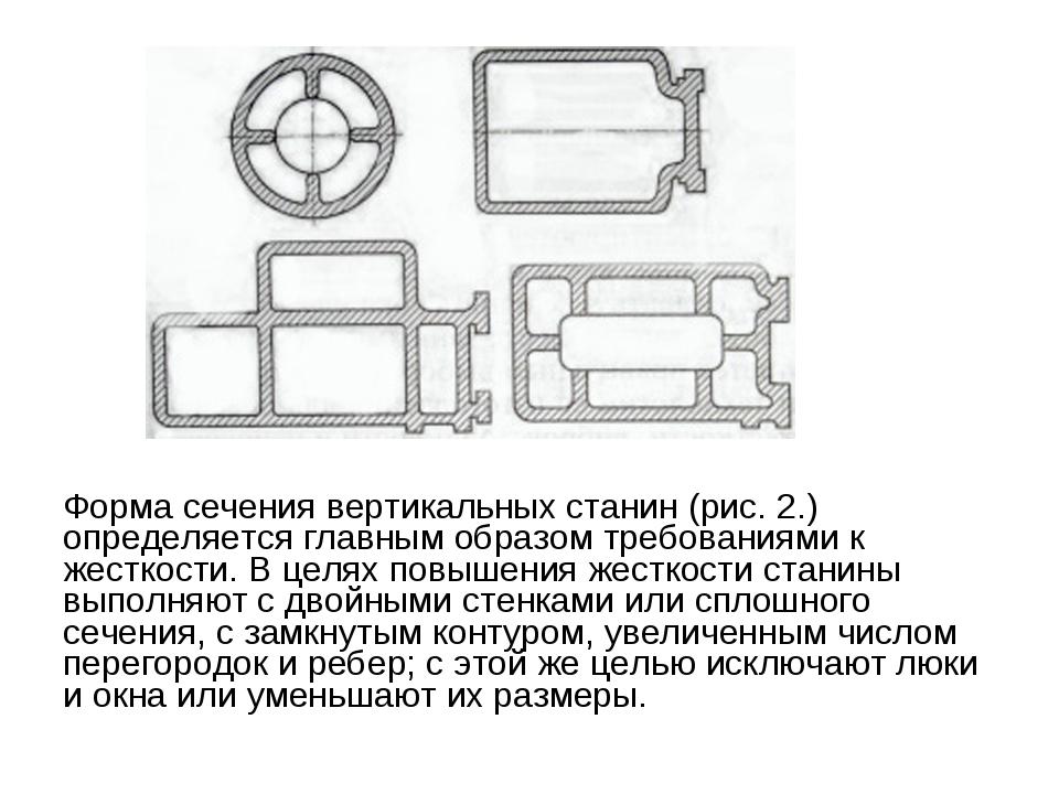 Форма сечения вертикальных станин (рис. 2.) определяется главным образом треб...