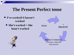 The Present Perfect tense I've worked=I haven't worked She's worked = She has