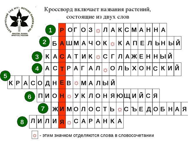 ☼ С ☼ Т ☼ Е ☼ Н ☼ И ☼ Р ☼ Я 1 2 3 4 5 6 7 8 ☼ - этим значком отделяются слова...