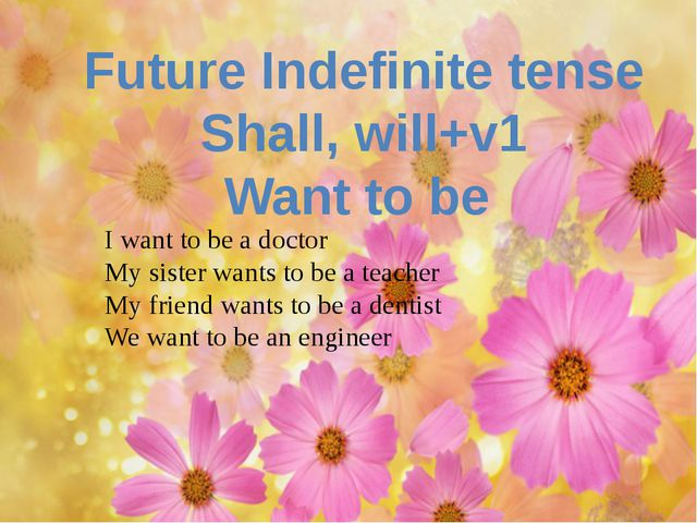 Future Indefinite tense Shall, will+v1 Want to be I want to be a doctor My s...