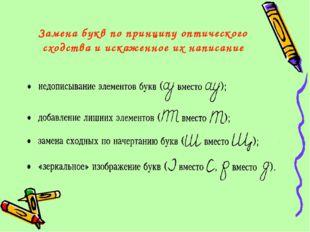Замена букв по принципу оптического сходства и искаженное их написание
