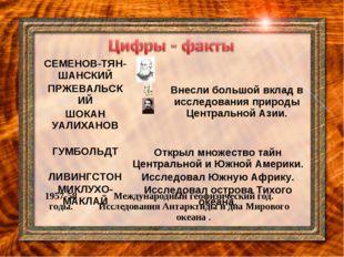 СЕМЕНОВ-ТЯН-ШАНСКИЙВнесли большой вклад в исследования природы Центральной