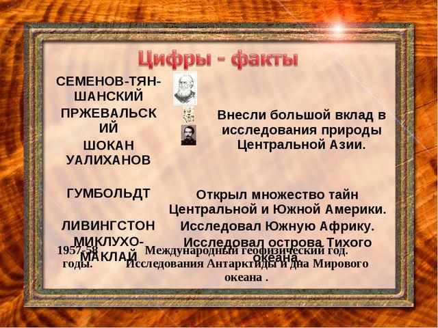 СЕМЕНОВ-ТЯН-ШАНСКИЙВнесли большой вклад в исследования природы Центральной...