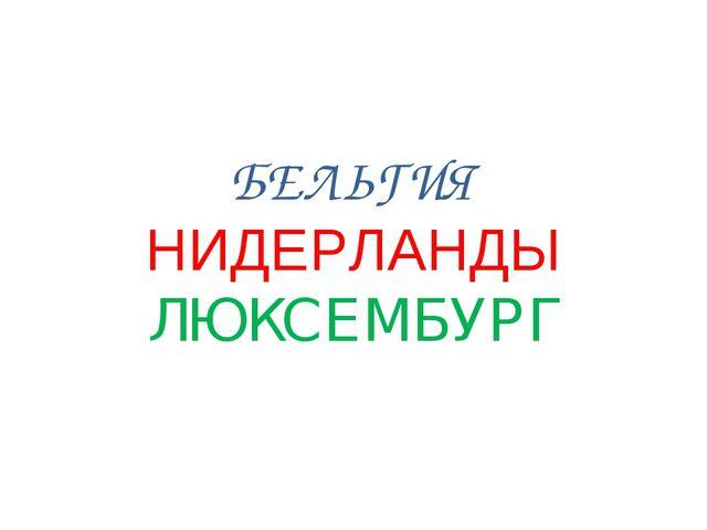 БЕЛЬГИЯ НИДЕРЛАНДЫ ЛЮКСЕМБУРГ