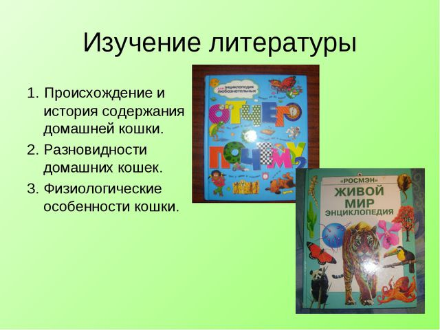 Изучение литературы 1. Происхождение и история содержания домашней кошки. 2....