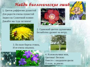 Найди биологические ошибки 1. Цветок раффлезии душистой Для радости пчелы пуш