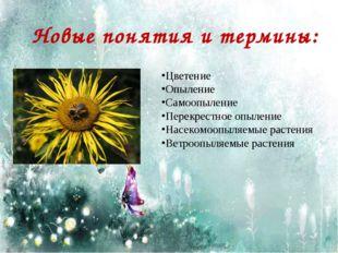 Новые понятия и термины: Цветение Опыление Самоопыление Перекрестное опыление
