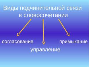Виды подчинительной связи в словосочетании согласование управление примыкание