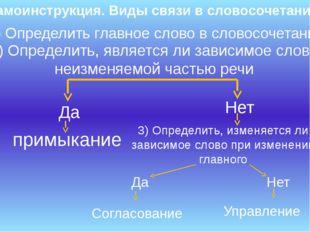 Самоинструкция. Виды связи в словосочетании 1) Определить главное слово в сло