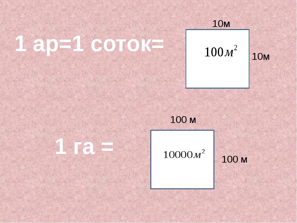 1 ар=1 соток= 10м 10м 1 га = 100 м 100 м
