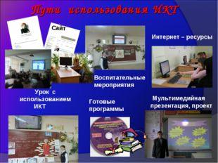 Пути использования ИКТ Интернет – ресурсы Воспитательные мероприятия Урок с и