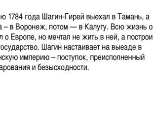 Весною 1784 года Шагин-Гирей выехал в Тамань, а оттуда – в Воронеж, потом —