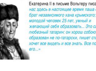 Екатерина II в письме Вольтеру писала:«У нас здесь в настоящее время паша су