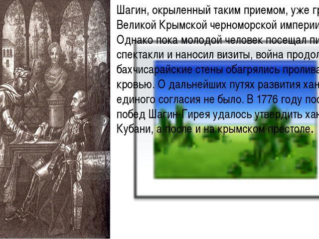 Шагин, окрыленный таким приемом, уже грезил о Великой Крымской черноморской...