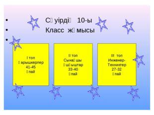 Сәуірдің 10-ы Класс жұмысы І топ Ғарышкерлер 41-45 ұпай ІІ топ Сынақшы Ұшқыш