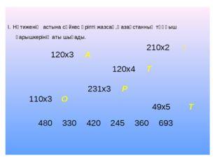 І. Нәтиженің астына сәйкес әріпті жазсаң,Қазақстанның тұңғыш ғарышкерінің ат