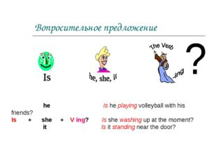 Вопросительное предложение he Is he playing volleyball with his friends? Is +