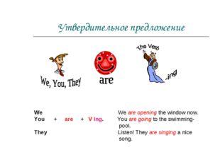 Утвердительное предложение We We are opening the window now. You + are + V in
