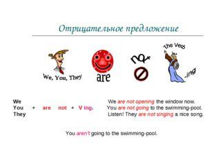 Отрицательное предложение We We are not opening the window now. You + are not