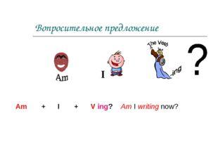 Вопросительное предложение Am + I + V ing? Am I writing now? I