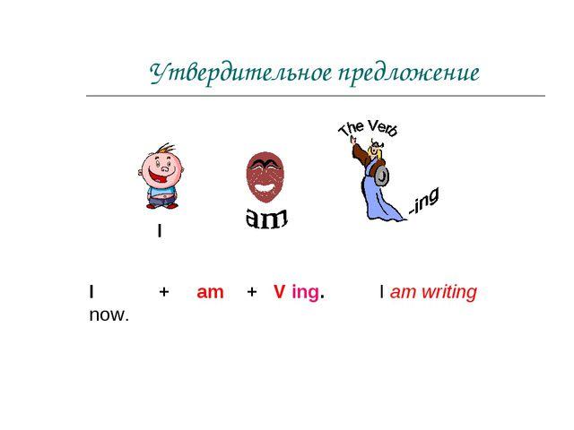 Утвердительное предложение I + am + V ing. I am writing now. I