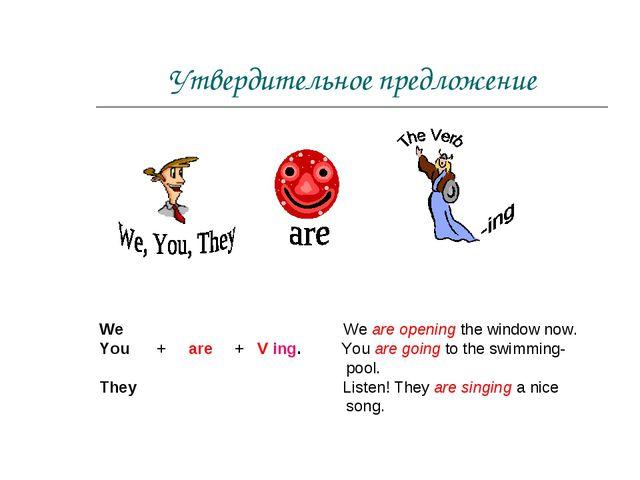 Утвердительное предложение We We are opening the window now. You + are + V in...